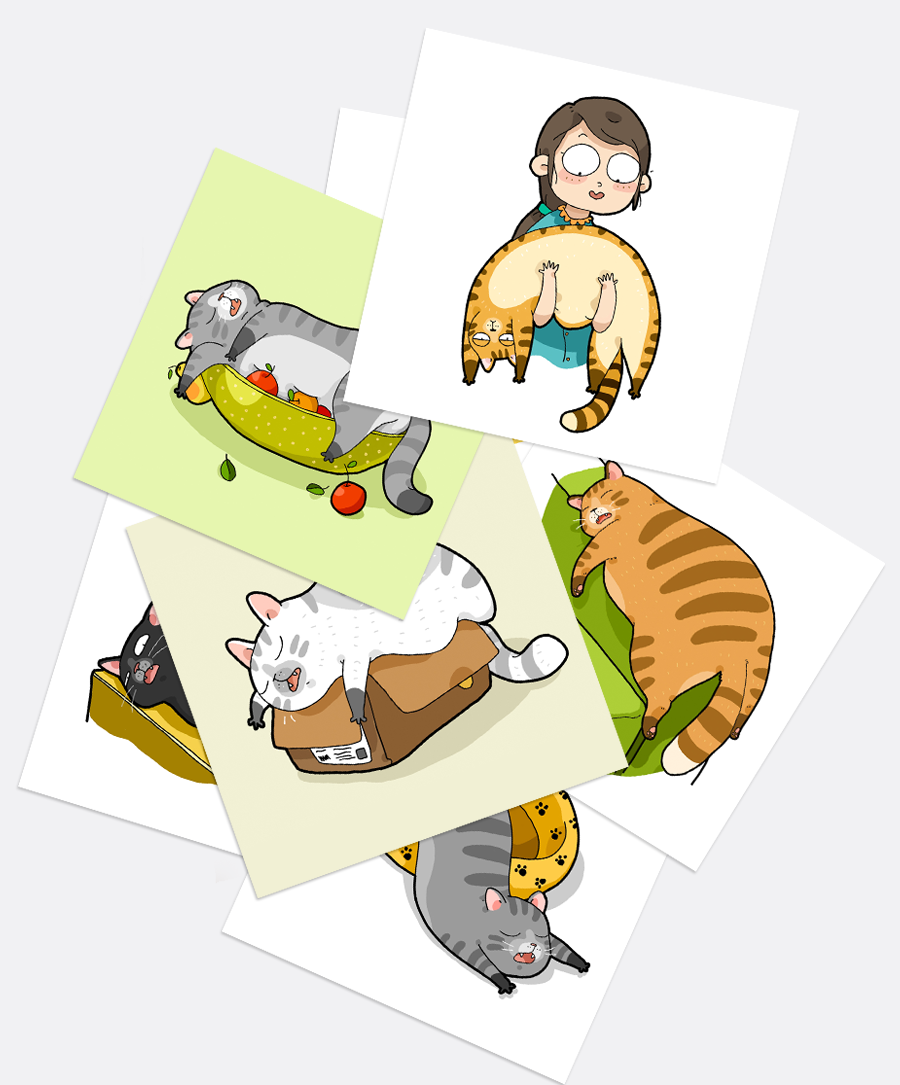 A Set of Liquid Cats Stickers