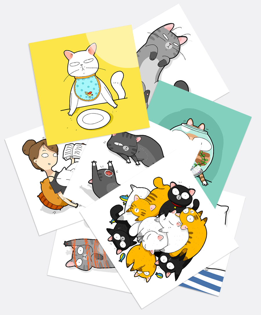 A Set of Cats Stickers