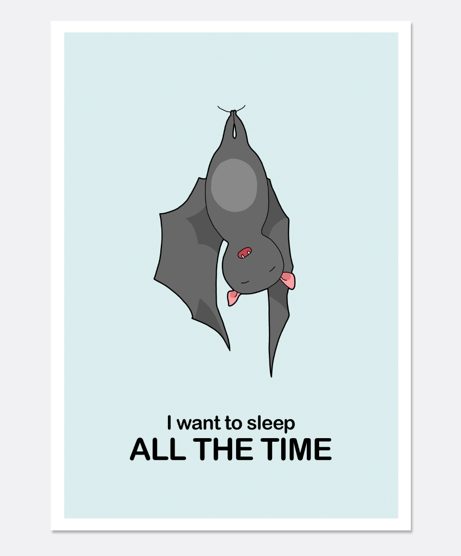 Sleeping Bat Print