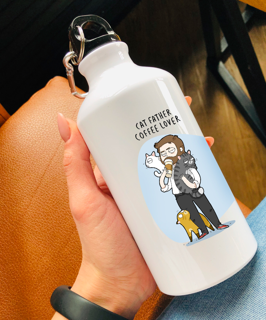 Cat Father Water Bottle
