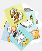 A Set of Sleeping Cats Stickers