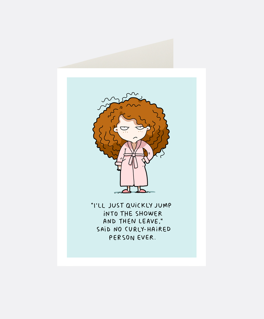 Curly Hair Greeting Card